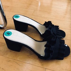 Black Ruffle Mule Sandals New w/ Tags